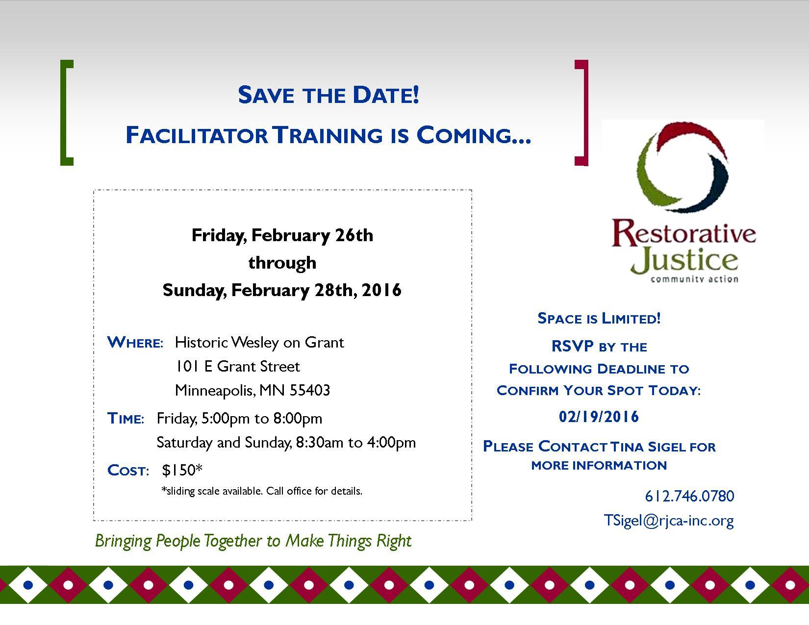 Save The Date Facilitation Training Feb 26-28, 2016