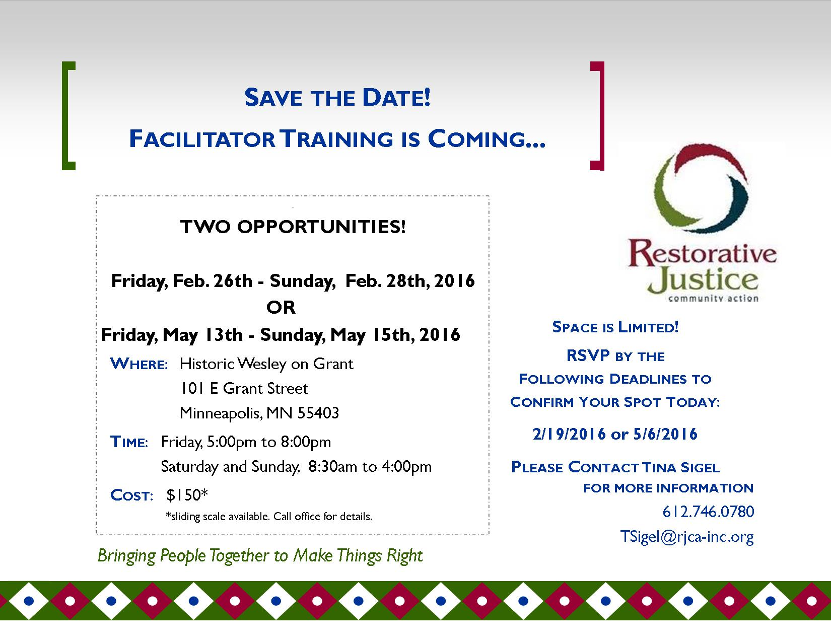 Save The Date Facilitation Training Feb & May 2016